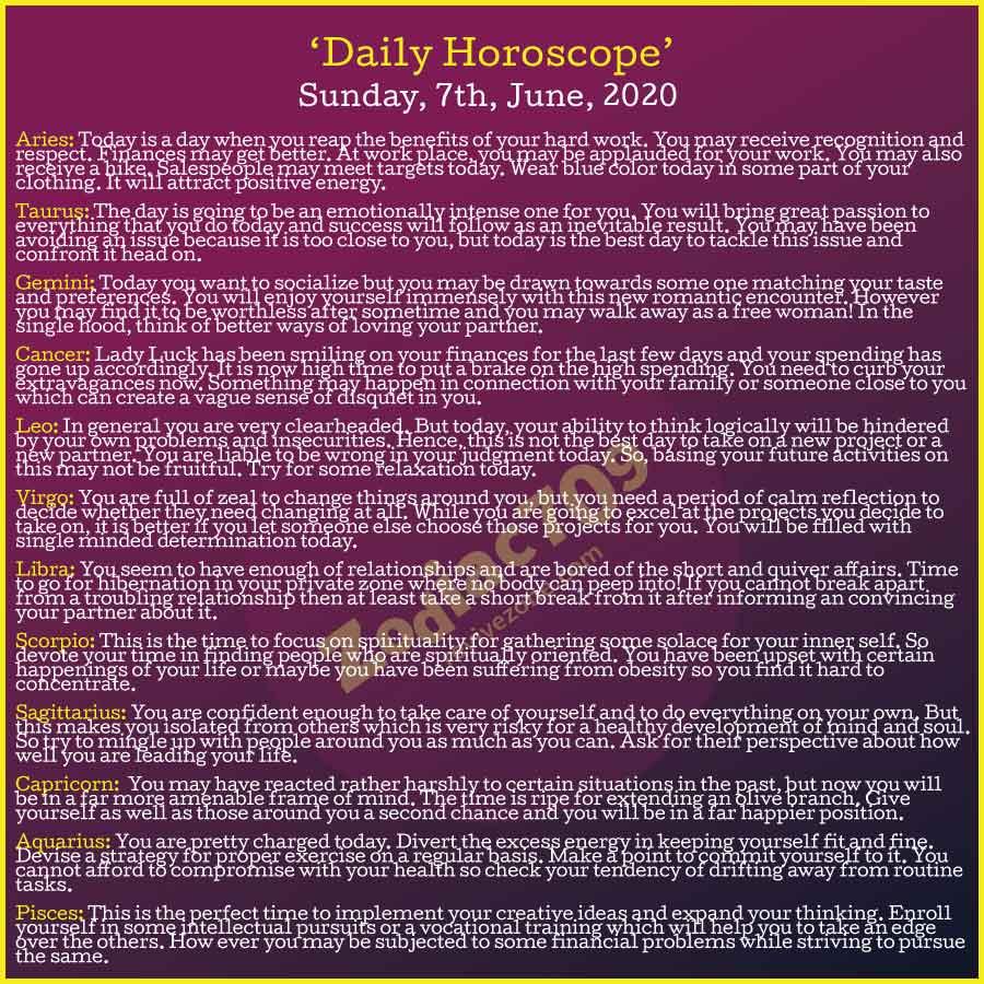 7th June Horoscope 2020