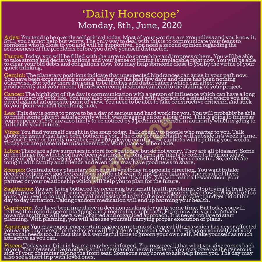8th June Horoscope 2020
