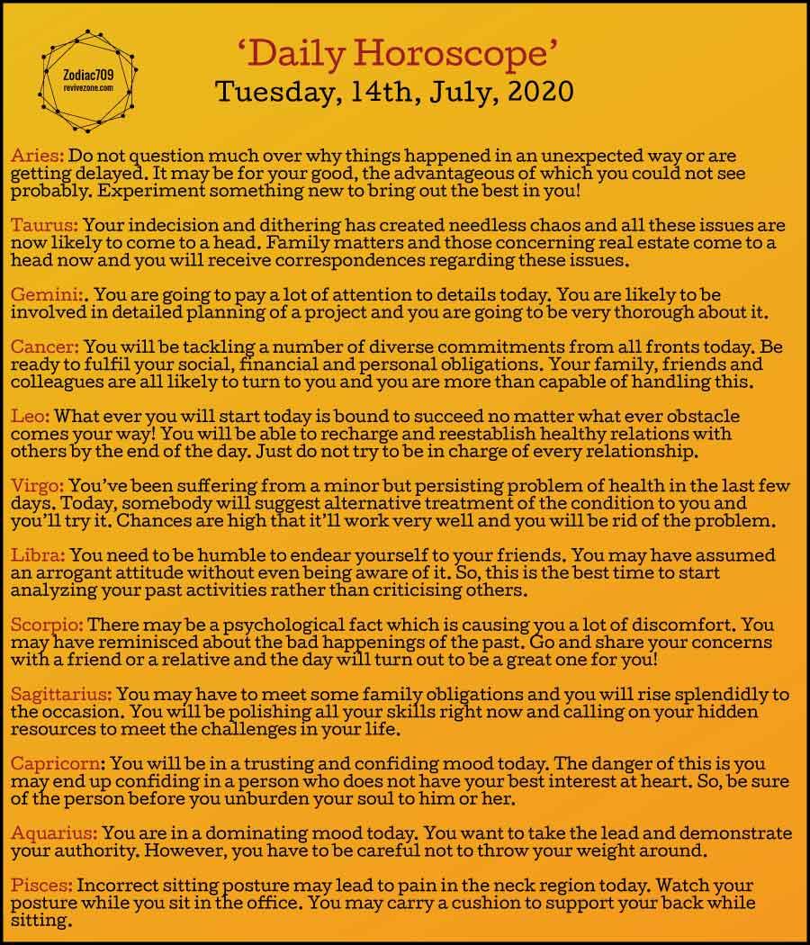 14th July Horoscope 2020