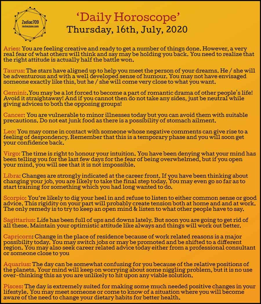 16th July Horoscope 2020