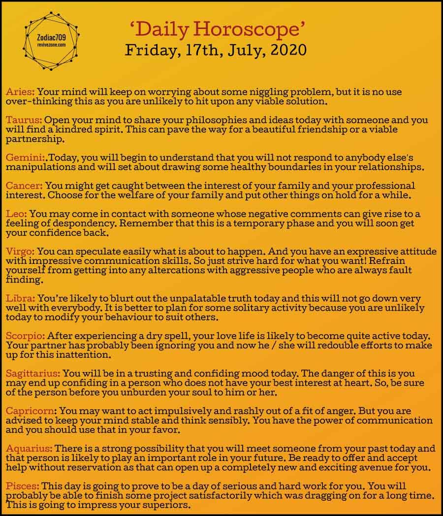17th July Horoscope 2020