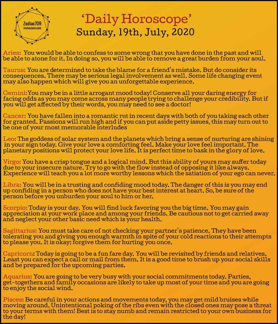 19th July Horoscope 2020