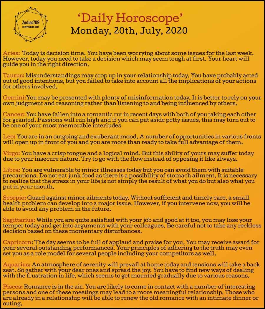 20th July Horoscope 2020