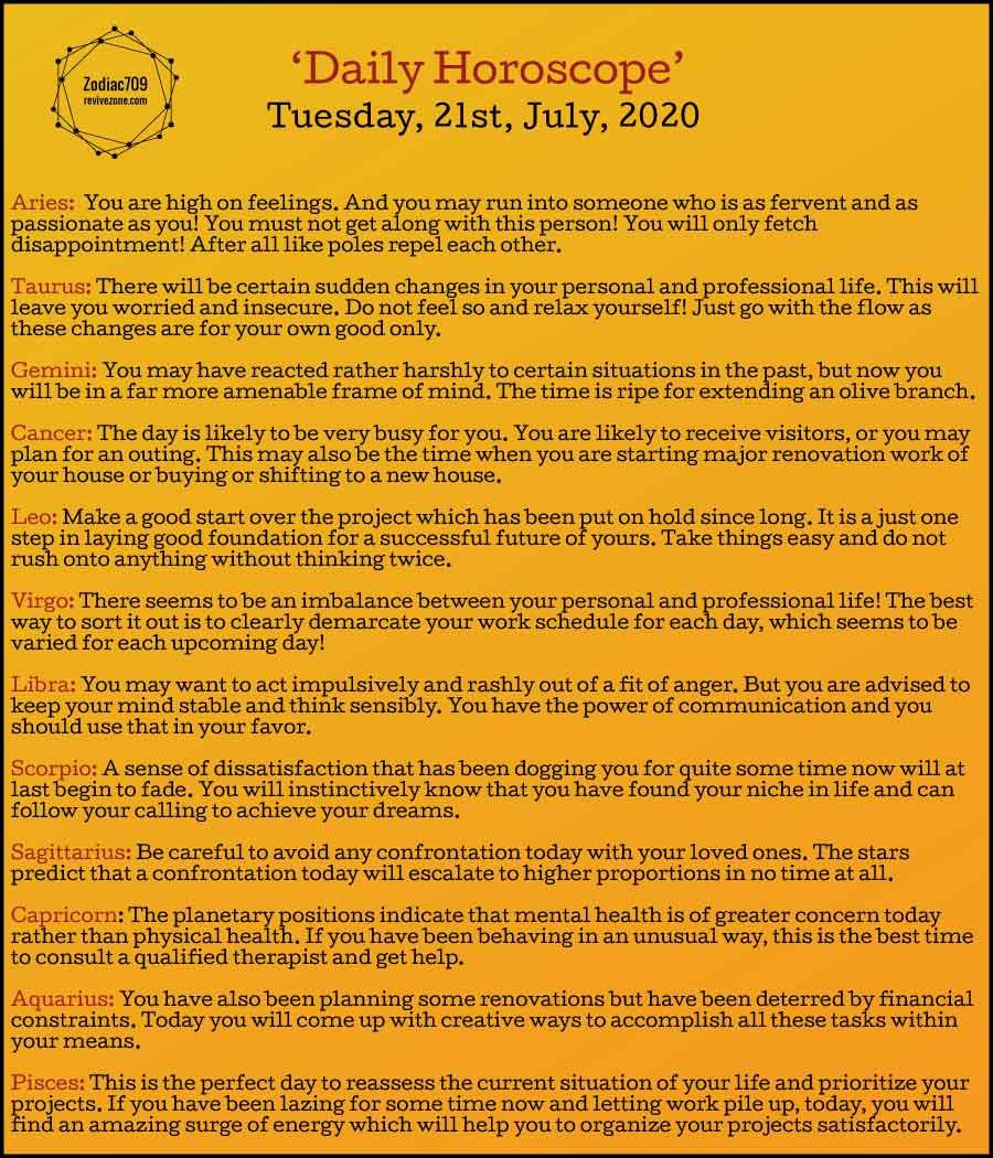 21st July Horoscope 2020