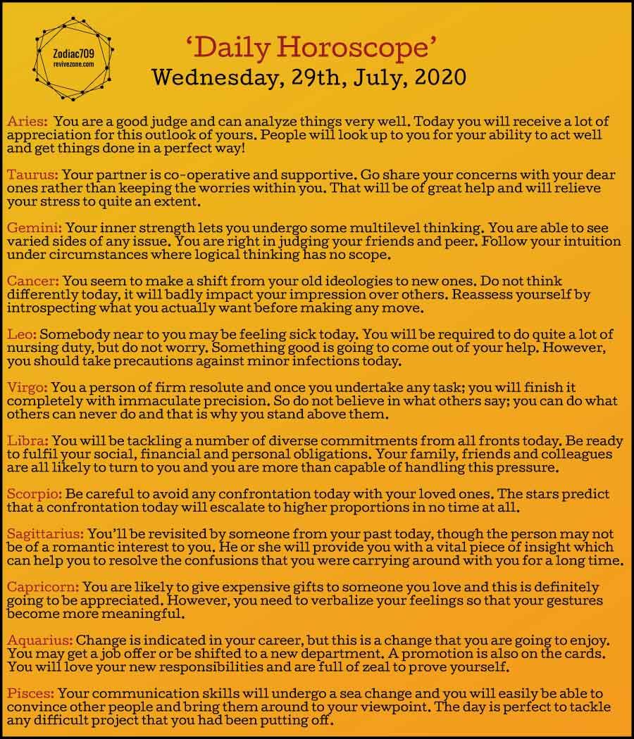 29th July Horoscope 2020